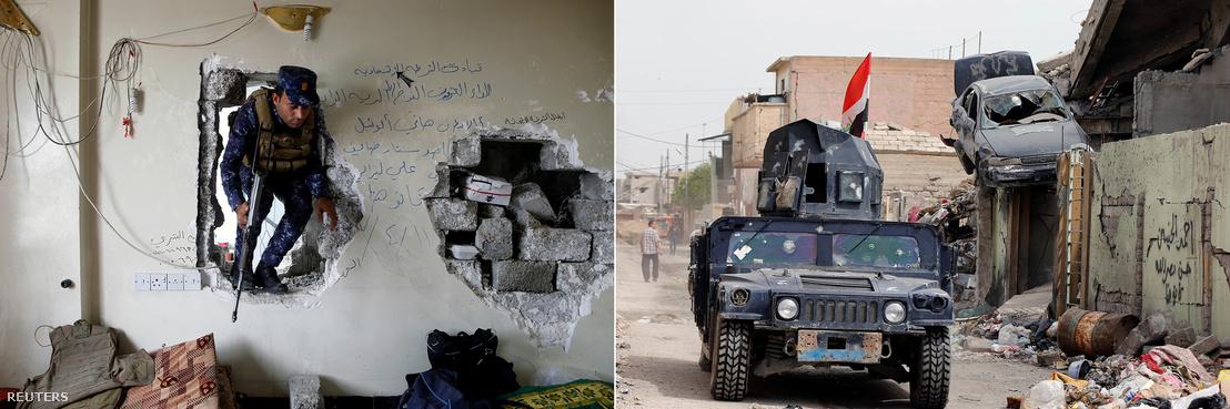 Az iraki szövetségi rendőrség egységei a visszafoglalt Moszulban