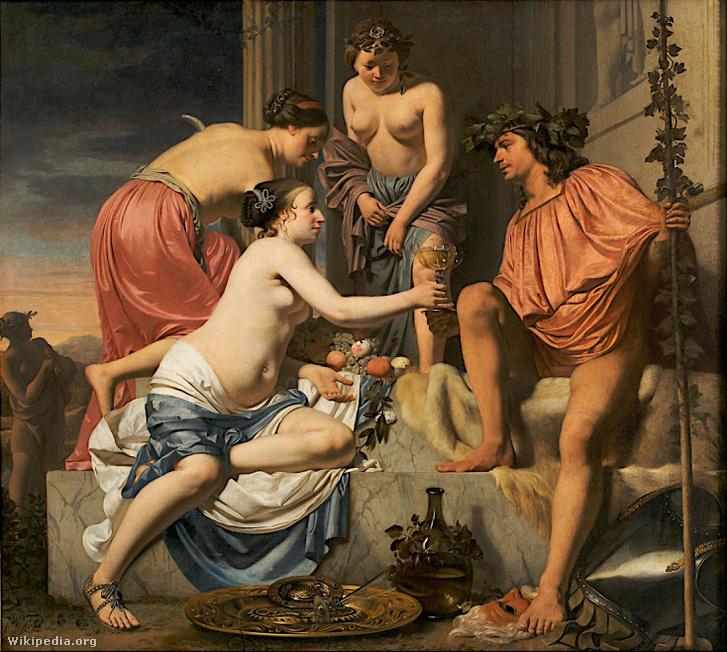 Caesar Boetius van Everdingen: Bacchus a trónon
