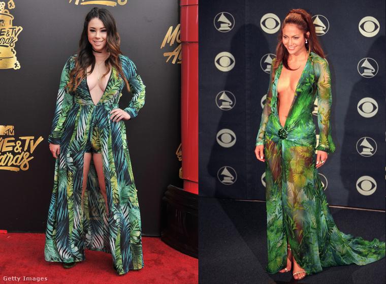 Ez a Jillian Rose Reed egy olyan ruhában ment el az MTV filmes gálájára a múlt éjjel, ami Jennifer Lopez híres zöld Versace-estélyijének a...feldolgozása?nyúlása?másolata?újraértelmezése?