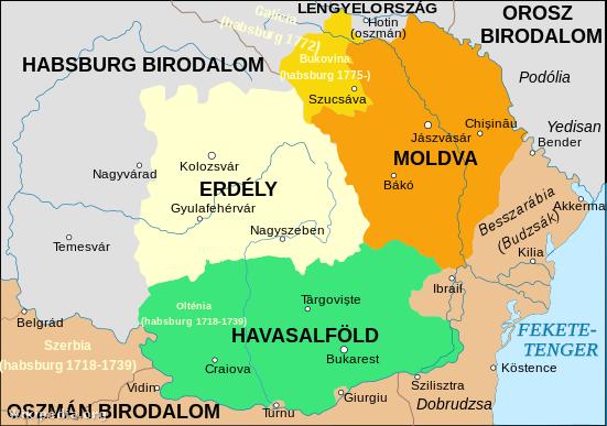 A mai Románia területe 1713-1812