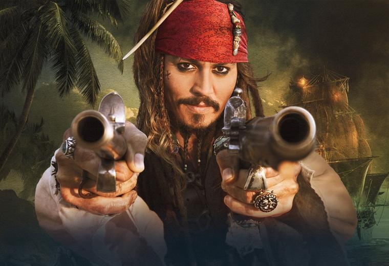 Johnny Depp A Karib-tenger kalózai forgatásán.
