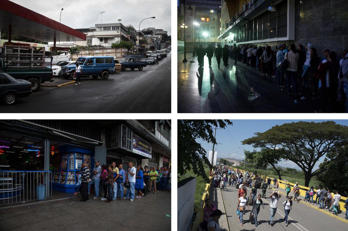 Sorok egy venezuelai benzinkúton; egy állami hivatalnál, ahol útleveleket állítanak ki, de a hivatal kifogyott a papírból; egy venezuelai élelmiszerboltban a nyitás előtt, és tömeg a kolumbiai határnál, ahová az emberek vásárolni járnak át.