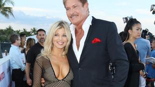 Hasselhoff a menyasszonya helyett egy bögyös macával pózolt a Baywatch premierjén