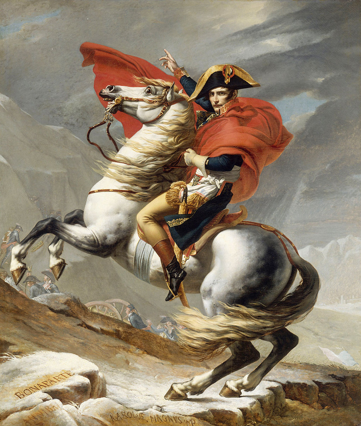 1024px-Jacques Louis David - Bonaparte franchissant le Grand Sai