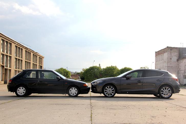 Egyenesági rokonok, de van pár generáció az 1990-es Mazda 323 és a 2017-es Mazda3 közt