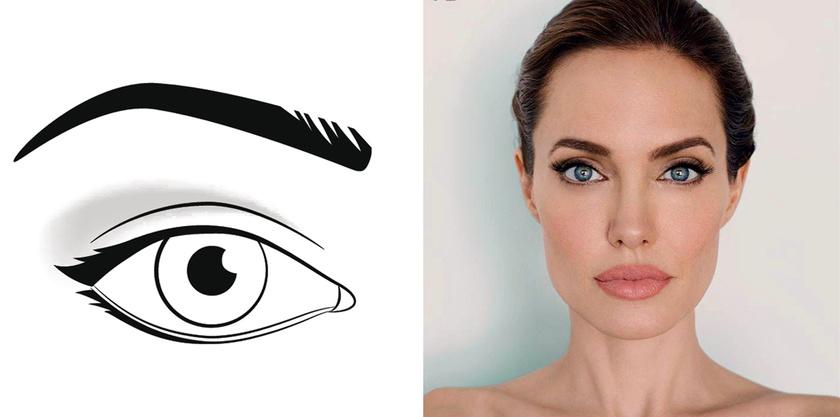 A felfelé ívelő, mandula alakú szemeket a legjobban az emeli ki, ha mindkét irányból végighúzod a tusvonalat a külső sarokig, de nem húzod túl rajta, ahogy azt Angelina Jolie-nál is gyakran láthatod.