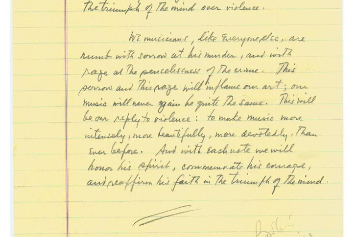 Leonard Bernstein beszédének sajátkezű vázlata (forrás: nyphil.org)