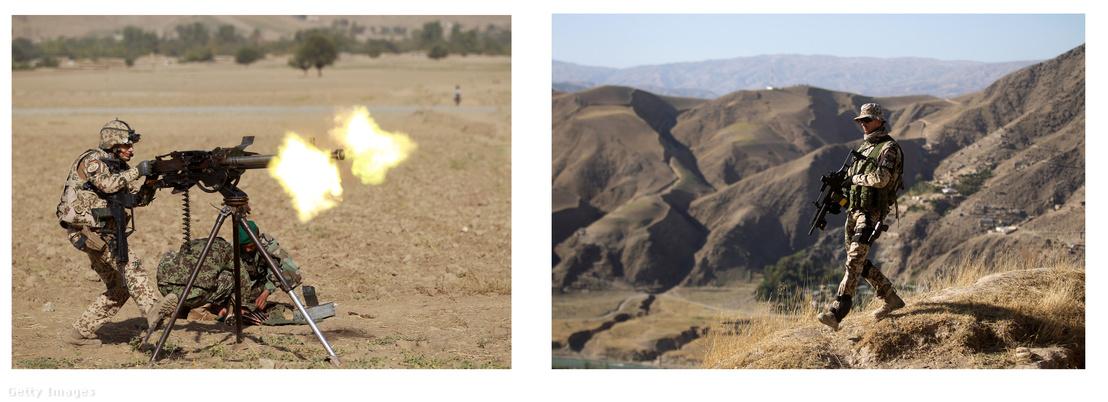Német katonák gyakorlat közben Afganisztánban