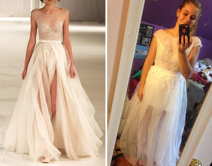 Ez a lány báli ruhát rendelt, de az eredetihez maximum annyiban hasonlít, hogy fehér. Mintha egy függönyt csavart volna magára…
