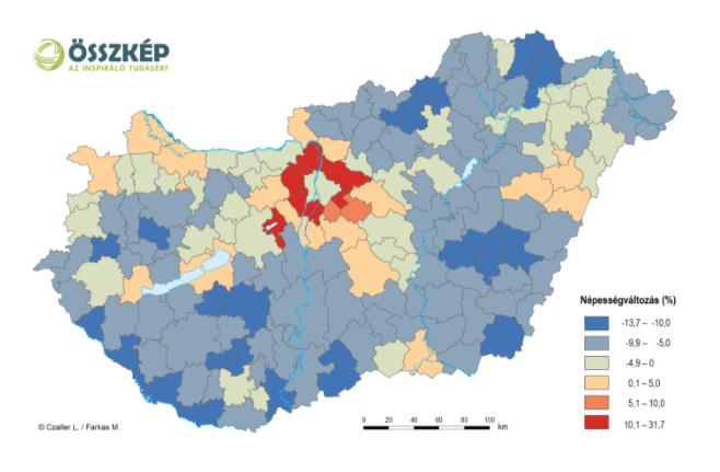 A népesség változása járásonként a 2001-es és a 2011-es népszámlálás között