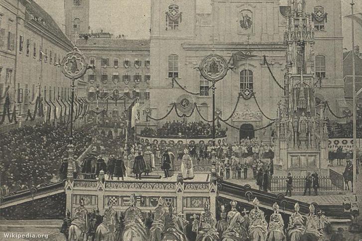 Ferenc József koronázási eskütétele a Belvárosi Templom előtt Pesten