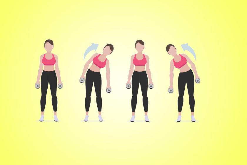 Kezdj ezzel a könnyebb gyakorlattal. Kétszer 30-szor a súlyzókkal a kezedben dőlj jobbra, majd balra. Végezz belőle két sorozatot.