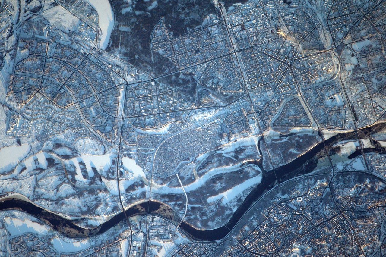 Behavazott Kijev, alkonyi fényekben.