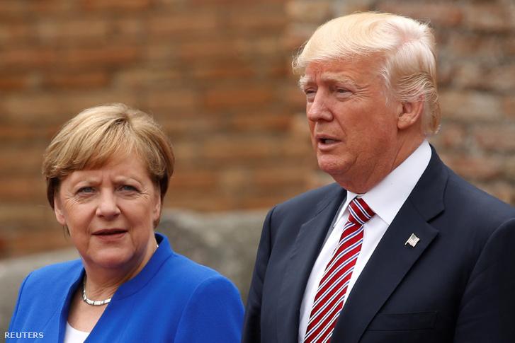 Angela Merkel és Donald Trump a G7-csúcson.