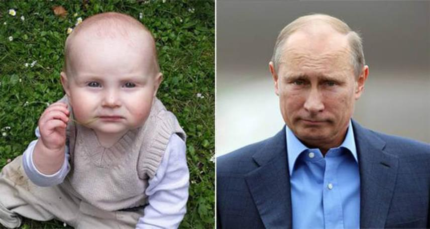 Ugye, milyen nagy a hasonlóság? Pedig a gyereknek semmi köze Putyinhoz, ez csupán a természet tréfája.
