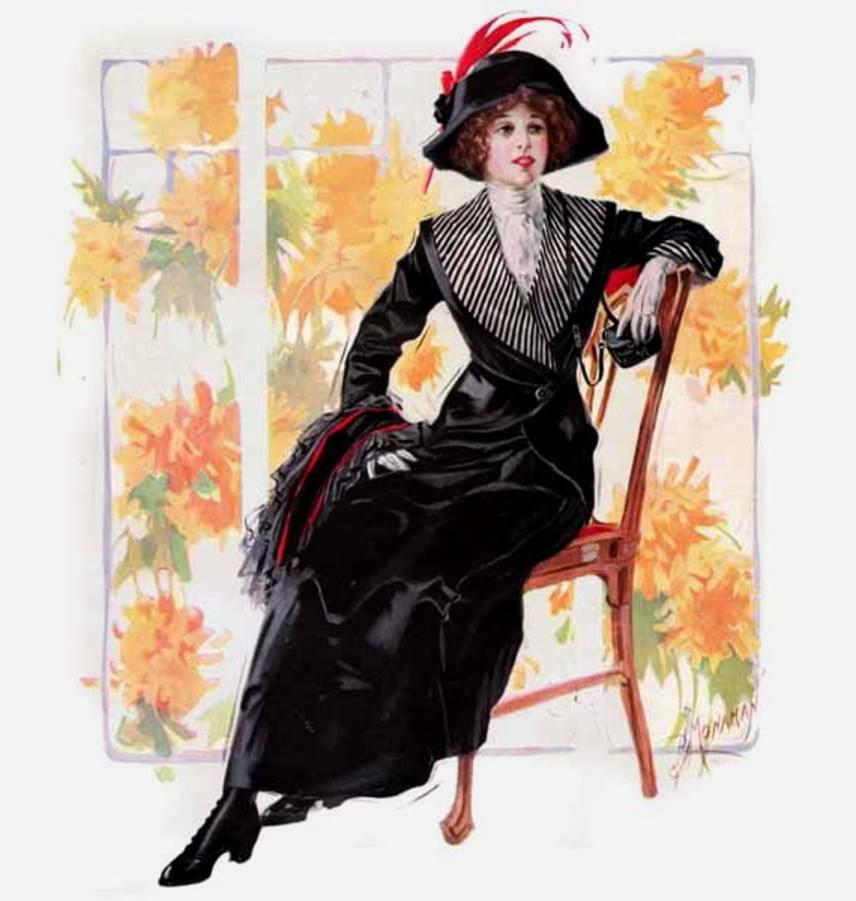 A napközben viselt utazóruha szinte teljesen megegyezett az üdülőruhával. Tipikus volt a széles galléros, egygombos blézer és a törpesarkú, kényelmes, de elegáns csizma. A legszükségesebb holmikat - púder, tükör, zsebkendő - egy miniatűr válltáskában hordták magukkal a nők.