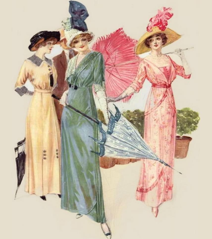 A szabadidős és társalgóruhák is színpompásak voltak, és fontos tartozékuk volt a napernyő, amennyiben azt az időjárás megkövetelte. Ehhez kisebb méretű, egyszerű vagy szalagos, masnis kalapokat, kesztyűt és körömcipőt viseltek a nők.