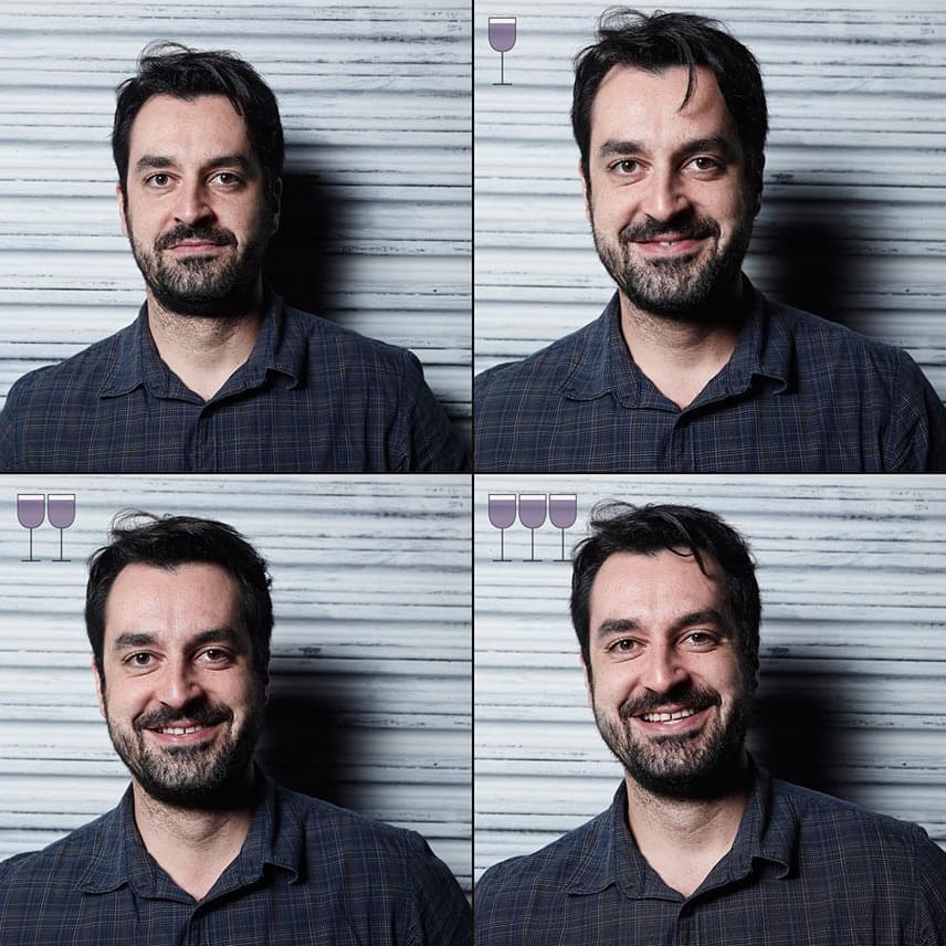 A férfiak is jobban mosolyogtak tőle, de sokkal kisebb a különbség az első és a negyedik fotójuk között.