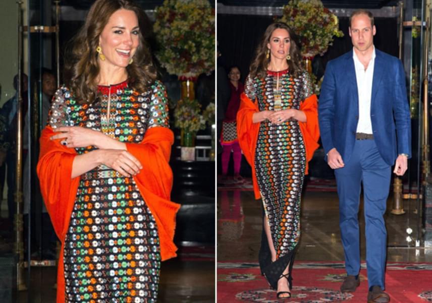 Katalin hercegné még sohasem volt ilyen merész minták terén - általában az egyszínű, visszafogottabb darabokat kedveli, most mégis emellett a gyönyörű, kaleidoszkópikus ruha mellett döntött.