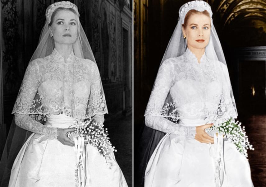 Grace Kelly pazar menyasszonyi ruhájának elkészítésében 34 varrónő segédkezett. Három hét alatt alkották meg, 280 méternyi csipkét, 140 méternyi selymet és ugyanennyi tüllt használtak fel hozzá.