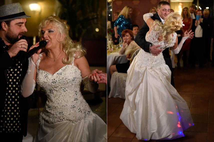 Az énekesnő természetesen a saját lagziján is dalra fakadt, és a táncparketten is ropta.