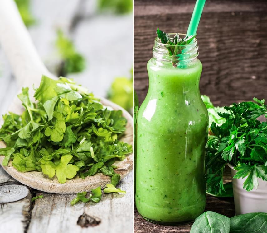 A petrezselyem friss, zöld levelei már érnek, így ideje, hogy kihasználd a bennük rejlő erőteljes vízhajtó hatást. A leveleket szinte bármilyen salátára, húsételre, levesbe szórhatod, sőt, egy evőkanál levelet pár perc alatt leforrázva teát is készíthetsz, amely segít az anyagcsere megdolgoztatásában és a hasi zsírrétegben lerakódott víz kipurgálásában.