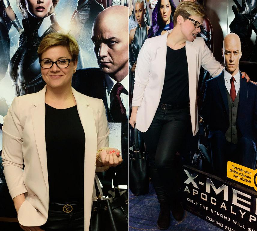 Ábel Anita talán nagy rajongója James McAvoy skót színésznek, de az is lehet, hogy Charles Xavier, vagyis X professzor tar koponyája nyűgözte le annyira, hogy a fotósok előtt flörtölni kezdett a papírmasé figurával.