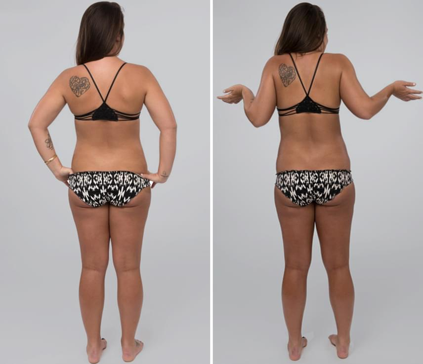 Nagyon látványos, hogy a barna bőr miatt a test mennyivel vékonyabbnak, arányosabbnak tűnik.