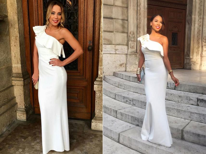 A Barátok közt színésznője, Kiss Ramóna és Aryee Claudia, vagyis Tücsi, a Sláger TV műsorvezetője tegnap este az Operaházban, a Fashion Bárnál ugyanazt a hófehér ruhát viselte.