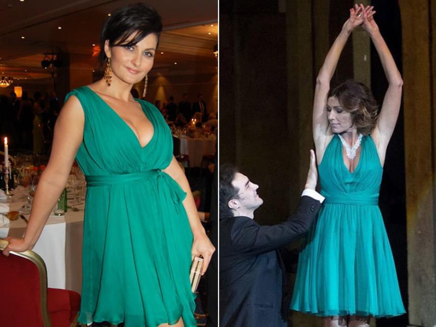 Varga Izabella a 2013-as Story-gálán, Miklósa Erika pedig az Operaházban volt látható ebben a türkiz ruhában.