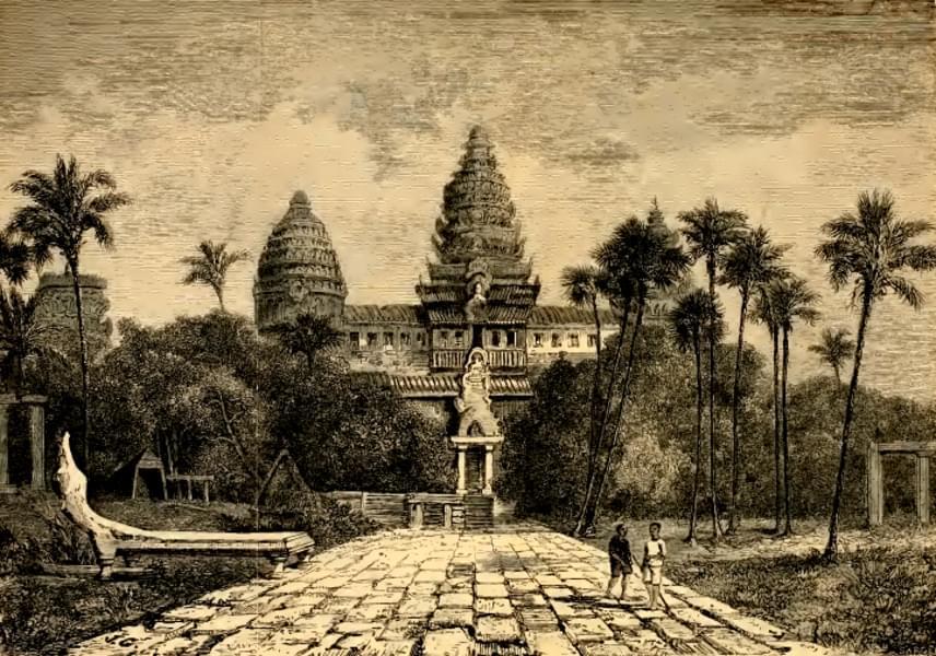A IX. század óta fennálló Angkor felfedezése a francia gyarmatiság idejére tehető, érdekessége, hogy a legenda szerint Henri Mouhot lepkegyűjtő természettudós 1800-as években készített rajzaiból derült ki Európa számára, hogy mit rejt az őserdő, és csak ezután szerveztek expedíciókat a helyszínre.