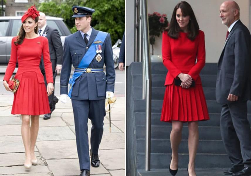 Katalin egyik kedvenc tervezője Alexander McQueen, akinek tűzpiros színű, rakott kreációját több alkalommal is magára öltötte: 2012-ben Erzsébet gyémántjubileumán, majd 2014-ben egy kiállításon.