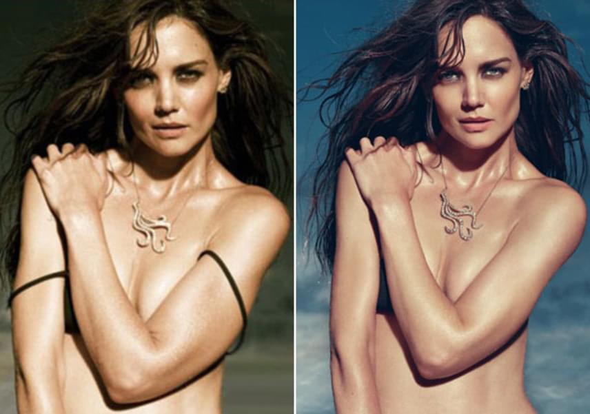 Míg a bal oldali fotón jól látszik, melltartóban fotózták Katie-t, addig a jobb oldalin retusálták a pántokat, azonban a melltartó így is kikandikál a bal keze alól. A színésznő derekából is lefaragtak jó pár centit.