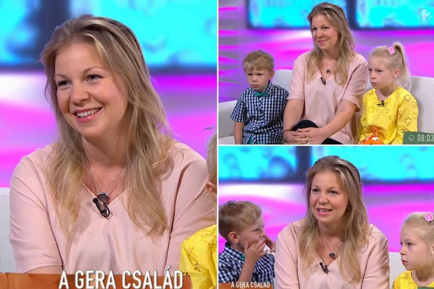 Gera Zoltánnak és Tímeának két gyermeke született: mint azt a ma reggeli műsor nézői is láthatták, a négyéves Jonatán az elevenebb, Hanna nyugodtan ült édesanyja mellett.