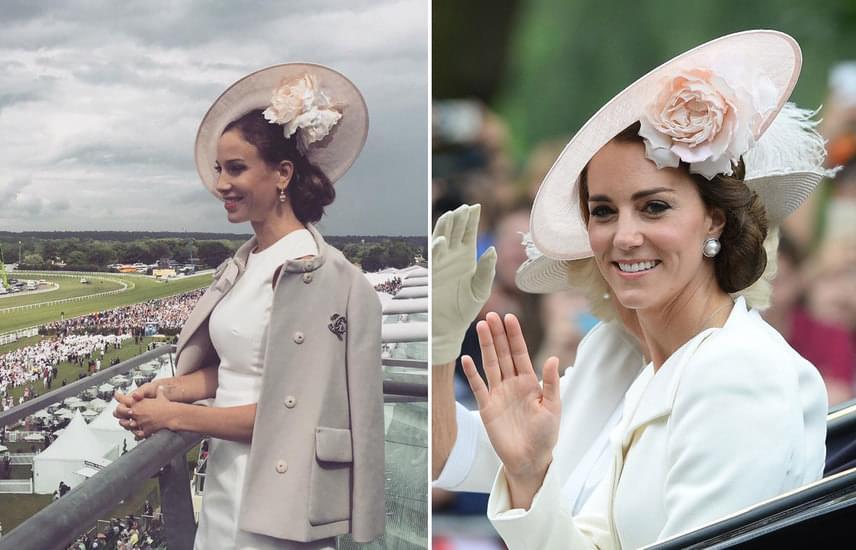 Vajna Tímea tegnap a Royal Ascoton és Katalin hercegné június 11-én, szombaton II. Erzsébet 90. hivatalos születésnapi ünnepségén. A két kalap ugyanolyannak tűnik, és mindketten fehér ruhát viseltek.
