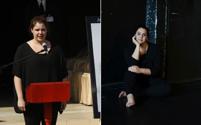 Bajor Lili 2014. augusztus 22-én, édesapja temetésén beszédet is mondott. A képen a színművész lánya 2015 szeptemberében a Színművészetin.