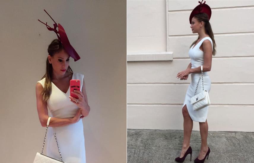Vajna Timi hófehér ruháját és az ahhoz színben passzoló Chanel táskát egy bordó cipővel és kalappal tette különlegessé - ilyen pazar kalapkölteményhez nem is illik más, figyelemfelkeltő darab.