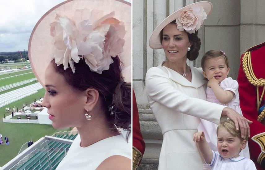 A púderrózsaszín darab Philip Treacy, híres kalaptervező munkája. Andy Vajna felesége nemcsak a fejfedőt nézte ki magának, Katalin frizuráját is másolta, valamint fülbevalóból is hasonlót választott.