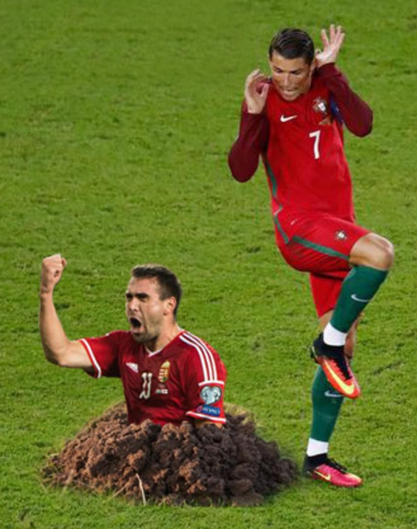 Okkal izgultak a meccs előtt a portugálok: Böde Dániel agresszív játékának is köszönhető, hogy bejutottunk a negyeddöntőbe - amin Ronaldo is csak hüledezett.