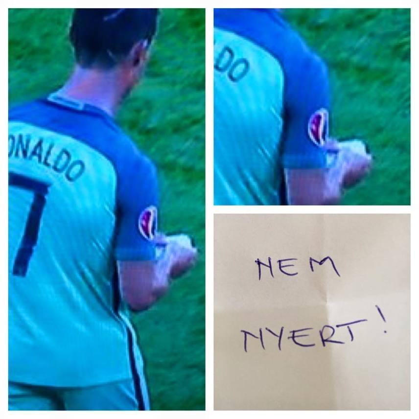 Felméri Péter humoristát a papír ihlette meg, amit Ronaldo kapott meccs közben. Szerepelt a cetli ezekkel a verziókkal is: Az éjjel soha nem érhet véget, nem nyert!, Hagyd a francba, erősebek!