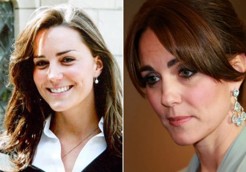 Csupán néhány év telt el a két kép készülte között, de hála Katalin hercegné fogyásának, az arca sokkal idősebbnek néz ki a koránál.