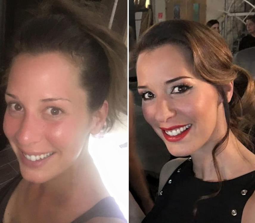 Demcsák Zsuzsa, a TV2 37 éves műsorvezetője smink nélkül és kifestve. A festetlen arc sokak szerint nála mínusz 20 év.