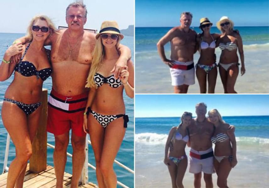 Nyertes Zsuzsa férjével, Attilával és lányával, Zsuzsóval - a színésznő, aki 57 éves, ma is bombázó bikiniben. A bal oldali fotó tavaly, törökországi nyaralásukon, a jobb oldaliak pedig idén készültek.