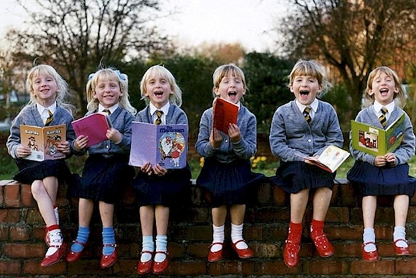 Balról jobbra: Luci, Ruth, Jennie, Hannah, Kate és Sarah szemmel láthatóan kis gézengúzok lehettek. Felnőttként maguk a lányok is azt mondják, ha nekik is hat gyerekük születne, nagy megpróbáltatás lenne.