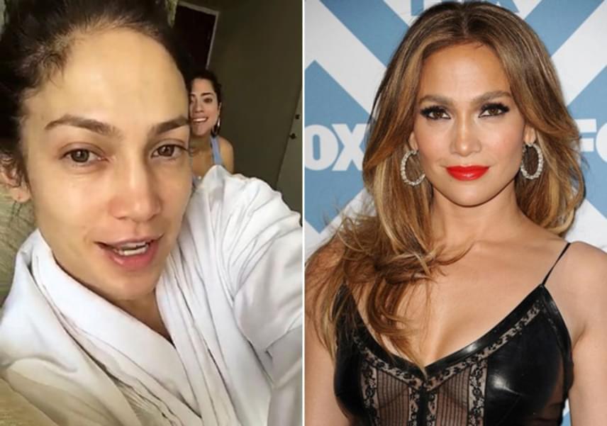 Jennifer Lopez smink nélkül is jól néz ki, egyedül a karikás szemei tűnnek szokatlannak a fotón - és persze az égig érő műszempillák hiányoznak.