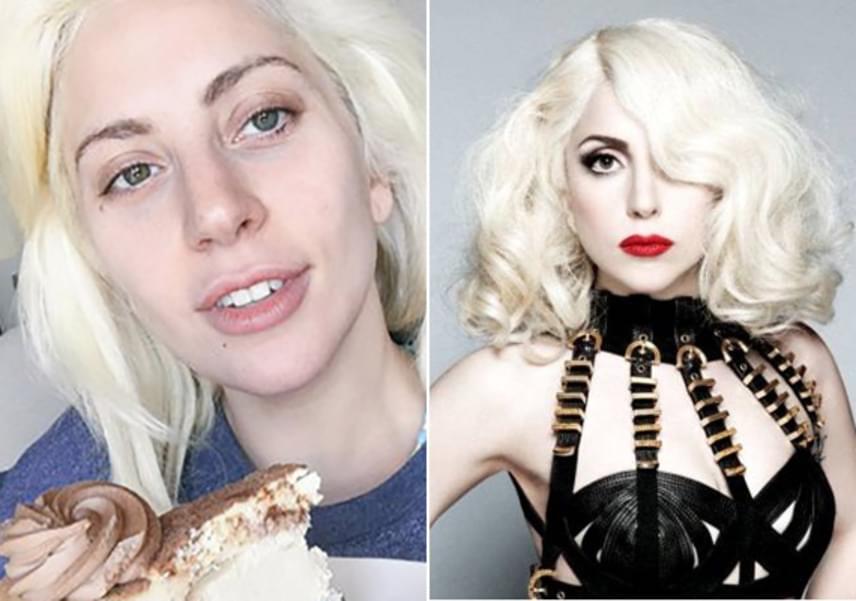Lady Gagának jót tesz, hogy nincs rajta festék, smink nélkül alig tűnik 20 évesnek, míg kikenve jóval idősebbnek látszik a koránál.