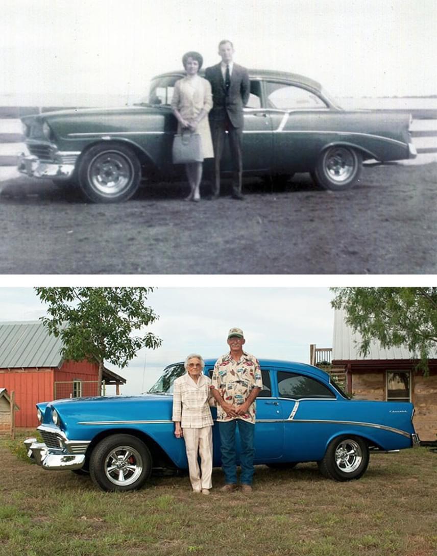 Vajon szerelmük tavaszán sokat kocsikázhattak a gyönyörű autóval, ami mellett sok évtized után ismét pózoltak? Sok mindent megélhettek együtt az évek alatt, de ők ketten és szép fiatalkori emlékeik mindig ugyanazok maradnak.