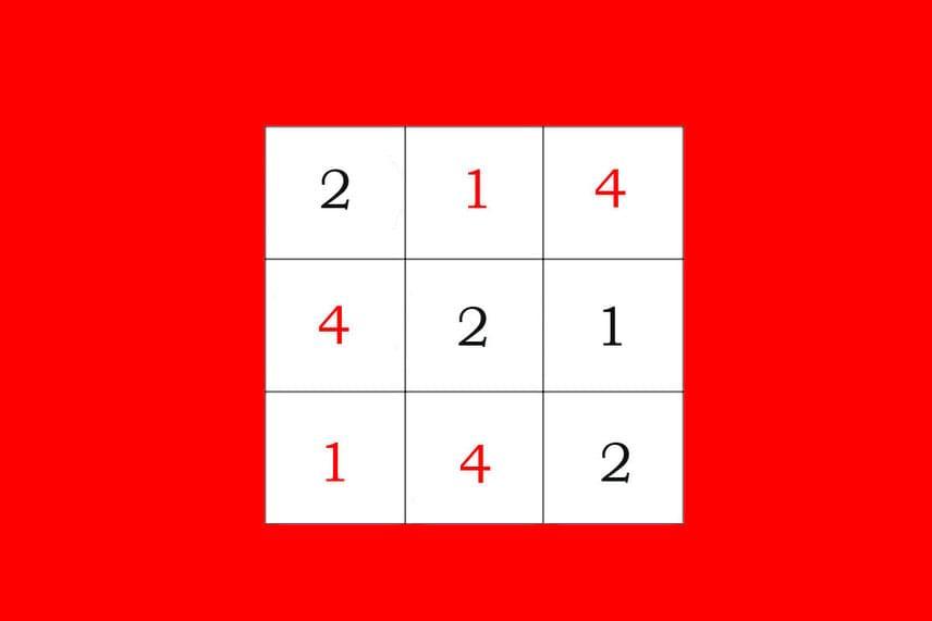 Megoldások  1. A bűvös négyzet megoldását a képen láthatod.  2. Ugyanúgy egy perc alatt, mivel kétszer annyi pálinkára van kétszer annyi matróz.  3. A harmadik képen 14 darab sárga négyzet van összesen. Kilenc darab apró négyzet, négyesével ezek az aprók további négy darabot alkotnak, közepesen nagyokat. Végül hozzáadjuk az egy darab nagyot, ami mindet magában foglalja.
