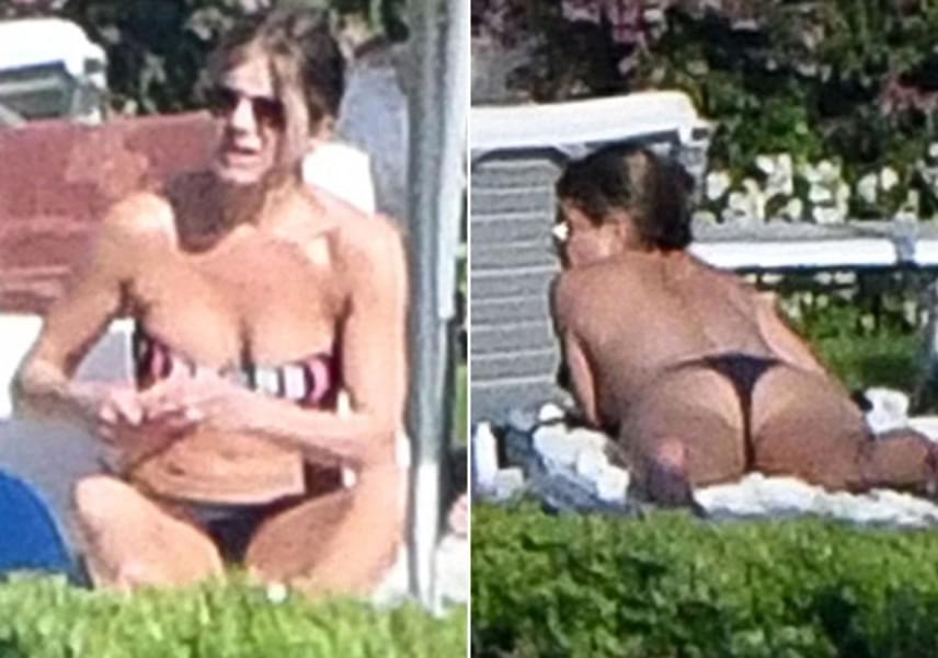 Jennifer Aniston teste még 47 évesen is tökéletes, így nem csoda, hogy bátran mutogatta magát felső nélkül, egy aprócska, fekete tangabugyiban.