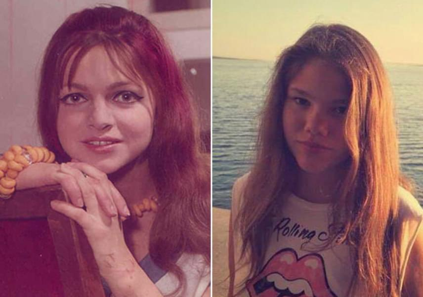 Gór Nagy Mária egyik interjújában elmondta, legnagyobb unokája, Lina - jobbra - a szíve csücske. Nemcsak azért, mert a 14 éves leányzó megszólalásig hasonlít a színésznő fiatalkori énjére - balra -, hanem mert ő volt az első, akit a kezében tarhatott.